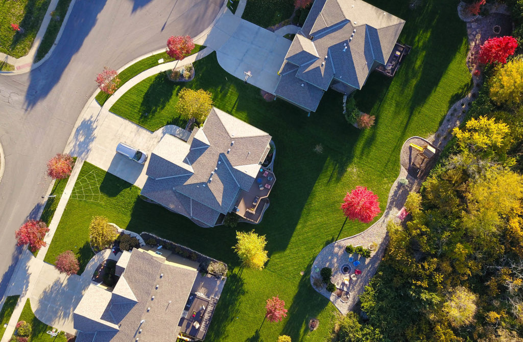 Home roofs from above